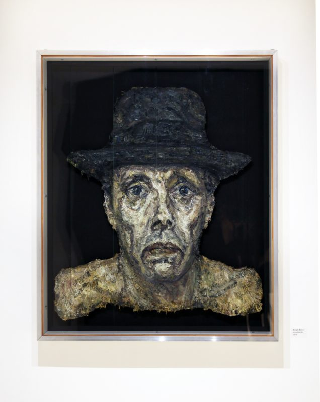 Joseph Beuys, 2014, oil on board, metal, bolts, glass, 74 x 87 cm
