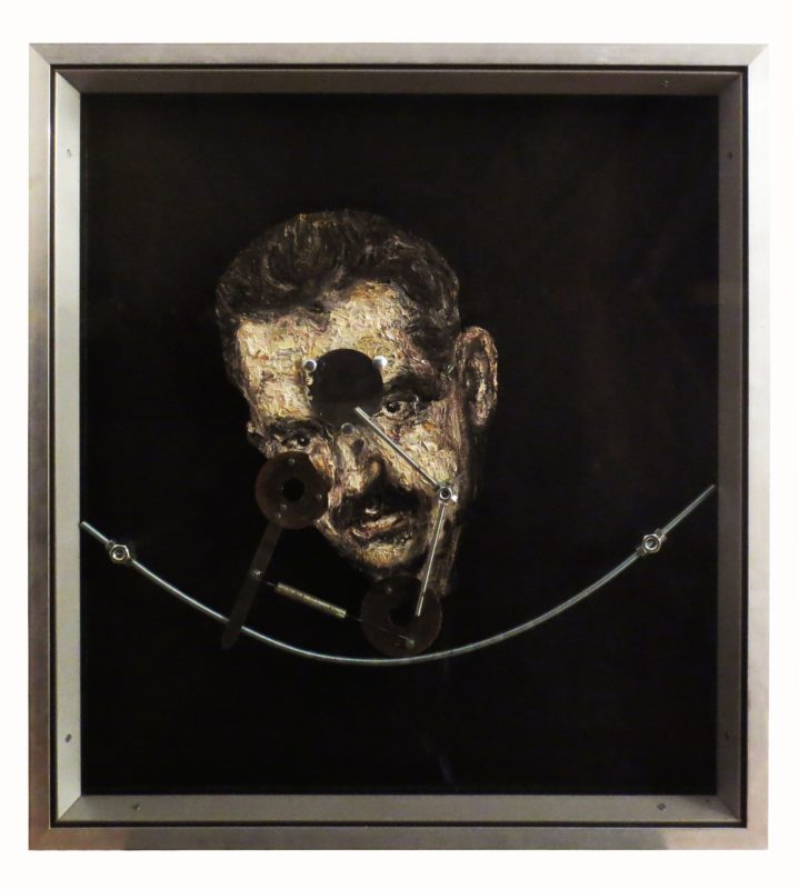 W. Benjamin, 2016, oil, plastic, glass, wood, metal, 67,5 x 53,5 cm
