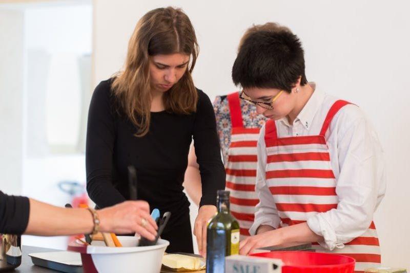 Anna Sophie Berger preparing breakfast